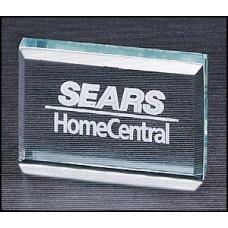 "3/4"" thick rectangular acrylic paperweight."